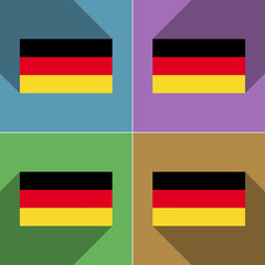 Flags Germany. Set of colors flat design and long s