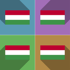 Flags Hugary. Set of colors flat design and long sh