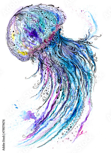 Jelly fish watercolor and ink painting - 79879676