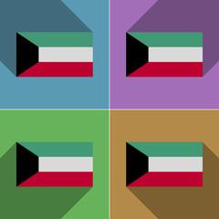 Flags Kuwait. Set of colors flat design and long sha