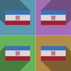 Flags Mari El. Set of colors flat design and long sha