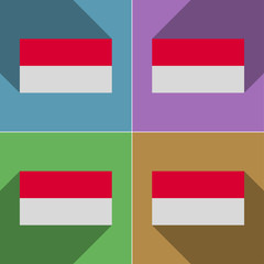 Flags Monaco. Set of colors flat design and long sh