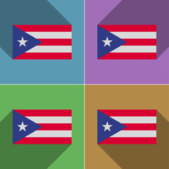 Flags Purto Rico. Set of colors flat design and long