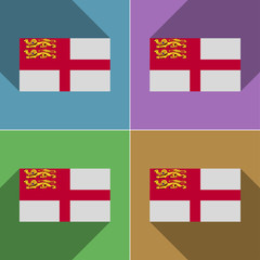 Flags Sark. Set of colors flat design and long shado