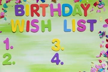 Bunte Buchstaben, Geburtstag, Wunschliste