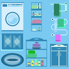 Flat style vector illustration. Bathroom interior with furniture