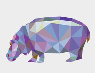 Hippopotamus triangle low polygon vector