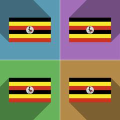 Flags Uganda. Set of colors flat design and long sh