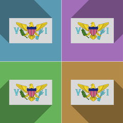Flags VirginIslandsUS. Set of colors flat design and