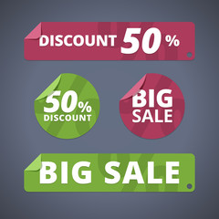Set of rectangular and circular stickers for sales and discounts