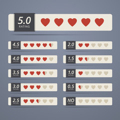 Set of rating widgets with heart shapes.