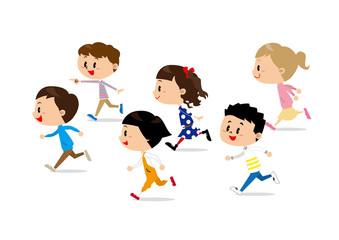 子供達 走る
