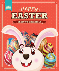 Vintage Easter poster design with bunny