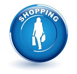 shopping sur bouton bleu