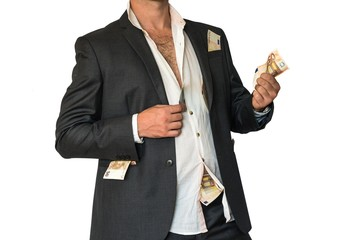 Disheveled man in a suit and money in pockets