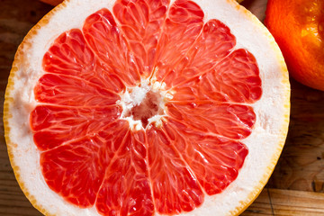 Half a pink grapefruit.