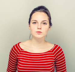 Woman face hipster in stripes clothes smilling