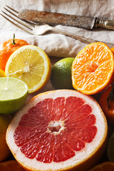 Pink grapefruit and other citrus fruit.