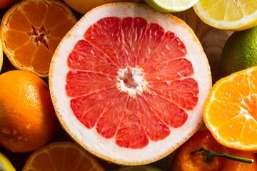 Juicy half pink grapefruit.