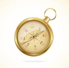 Vector retro style metal compass.
