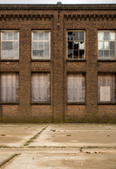 brick facade of an old abandoned factory
