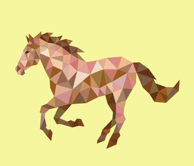 Horse running  low poly vector