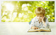 Leinwanddruck Bild - Young Child Boy Reading Book, Children Early Development