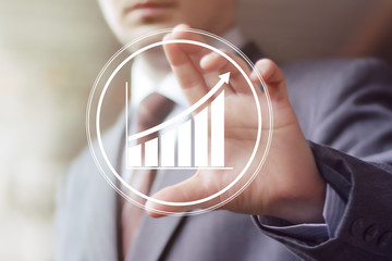 Man with chart business icon web diagram sign