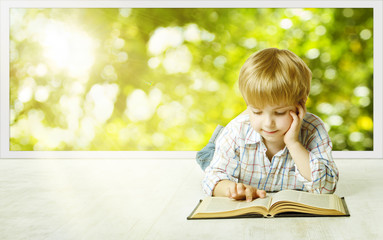 Young Child Boy Reading Book, Children Early Development