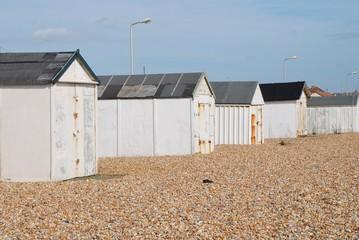 British beach huts, Glyne Gap, Sussex