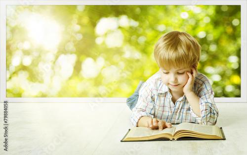 Leinwanddruck Bild Young Child Boy Reading Book, Children Early Development
