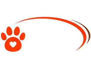 veterinarian background with paw and heart