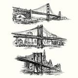 Fototapety famous bridges - hand drawn set