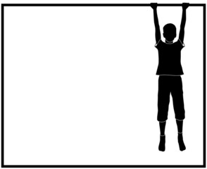 silhouette of hanging boy with frame for text