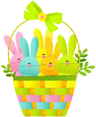 Easter basket with bunnies