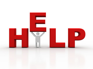 3d render of man hanging on help text