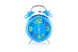 Alarm Clock isolated on white, in blue, showing six o'clock.