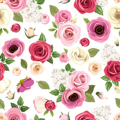 Seamless pattern with colorful roses, lisianthuses and anemones.