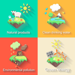 Set of  flat design concept illustrations with icons  ecology