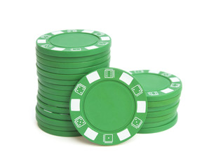 two stacks of green poker chips on white with clipping path