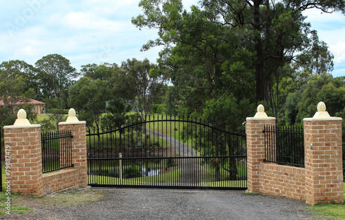 Black wrought iron entrance gates