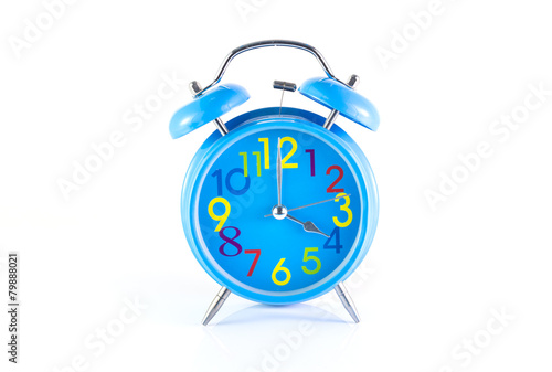 Alarm Clock isolated on white, in blue, showing four o'clock.