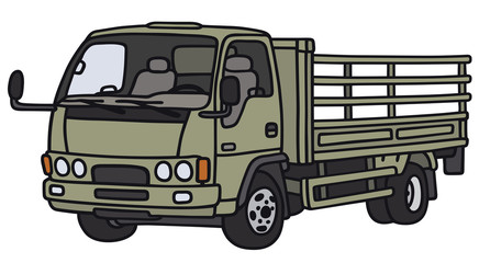 Hand drawing of a small green lorry - not a real model