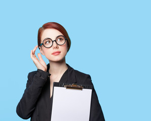 Portrait of thinking business women in glasses