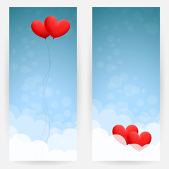 Background with sky and hearts
