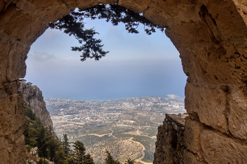 view from the window Hilarion castle at Kyrenia, Northern Cyprus