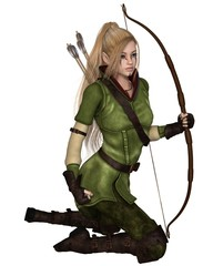 Blonde Female Elf Archer, Kneeling