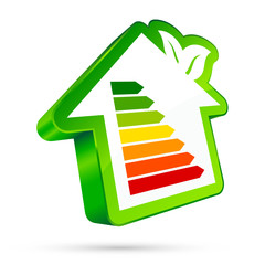 Energy House Icon Green Leafs
