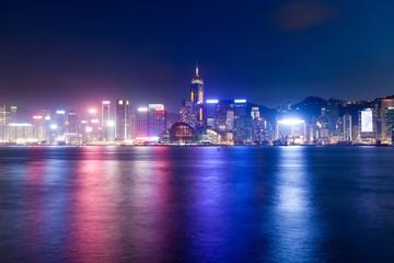 Night scene of Hong Kong Island, Kowloon, Hong Kong