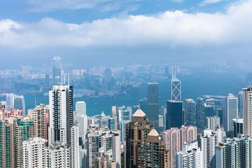 Daytime view of Hong Kong skyline from Victoria Peak